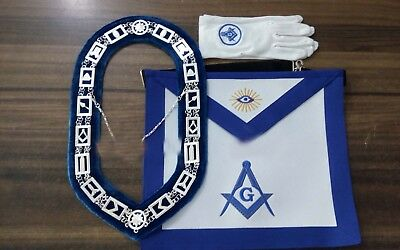 Blue Lodge Chain Collar , Master Mason Apron with Square and Compass Gloves Set