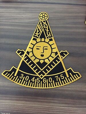 """3/"""" Masonic Past Master Embroidered Patch Black with Square - PM3-BLK"""