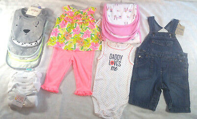 NEW Lot Of 16 Baby Girl Clothes 3 Months Burp Cloths Bibs