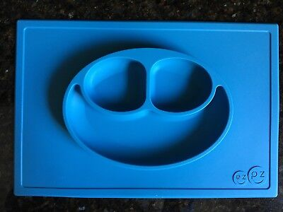 ezpz Happy Mat - One-piece silicone placemat + plate (Blue) Blue