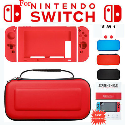 For Nintendo Switch 5in1 EVA Hard Carrying Case Bag+Clear Screen Protector Film