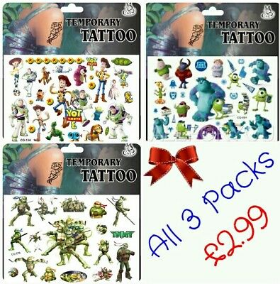 3x Children's Movie Temporary Tattoos Toy story Buzz Woody Monsters University
