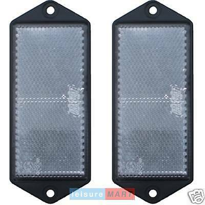 Pair of white / clear reflectors screw on type rectangular