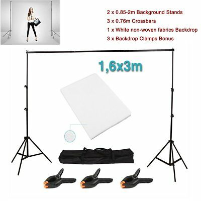 Photography Studio Background Support Stand + White Screen Backdrop Kit