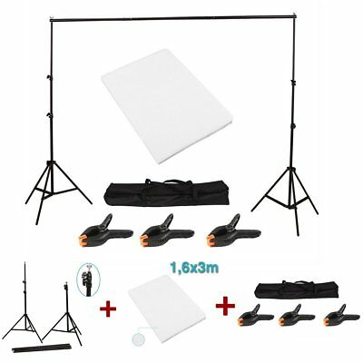 White Backdrops Photography Studio Background Screen Stand Crossbar clamps Kit