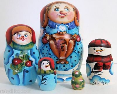 5pcs Hand Painted Russian Nesting Doll Snowmen