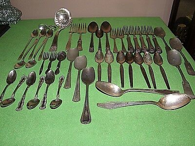 Silver Plated Silver Ware Lot, Over 40 pieces