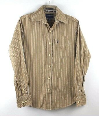 American Eagle Outfitters Mens Vintage Fit Brown White Stripe Shirt Size X Small