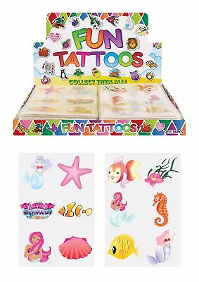 24 MERMAID Temporary Tattoos Transfer Childrens Birthday Party Loot Bag Fillers