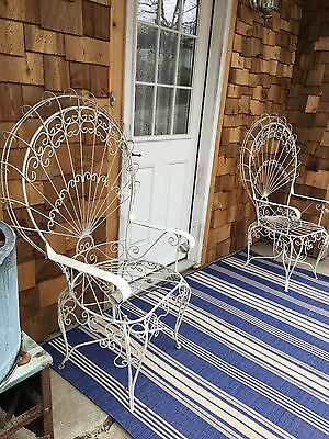 Pair Ornate Antique Fancy Twisted Wire Peacock Fan Back Chairs Vintage