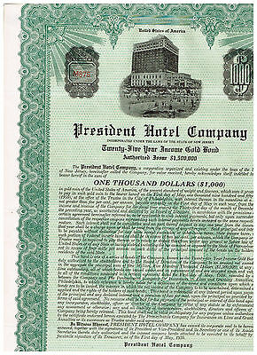 President Hotel Co., 1930, Gold bond 1000$, uncancelled/ coupons