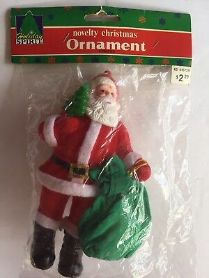 "VINTAGE 7"" PLASTIC FLOCKED SANTA CLAUS With GREEN BAG & TREE CHRISTMAS ORNAMENT"