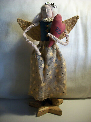 Angel Of Hope Figure Wood Star Base Heart Burlap Skirt Rusty Wire Halo Yarn Hair