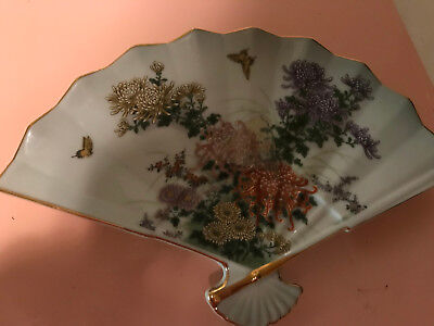 Midori Kiku Decorative Fan Plate Floral Birds Design Japan Signed Asian Vintage