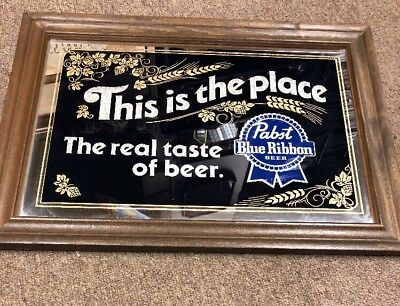 Pabst Blue Ribbon Beer Mirror Bar Sign PBR Pub Man Cave