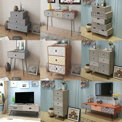 Retro Bedside Cabinet Table With Drawer Storage Organizer Night Stand Bedroom