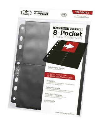 Ultimate Guard 8-Pocket Compact Pages Side-Loading Schwarz (10 Stück)