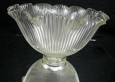 Art Deco Clear Ribbed Glass Torch Lamp Shade