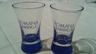 "Pair of Roman Sambvca Blue Logo and Blue Bottom 3 1/2""  Shot Glasses - Nice"