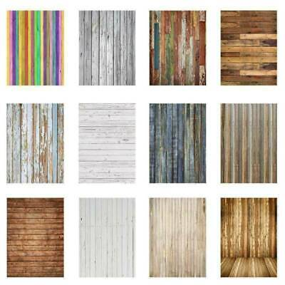 US 5x7ft 3x5ft Vinyl Newborn Backdrop Wood Wall Floor Photography Street Decors