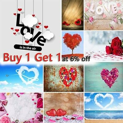 US 5x7ft LOVE Heart Photography Backdrop Background Valentine's Day Couples Gift