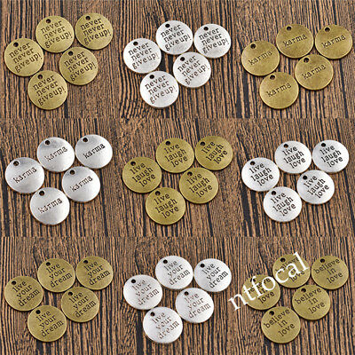 5/50pcs 19mm Never Give Up Inspiration Charm Pendant Silver Bronze Words Vintage
