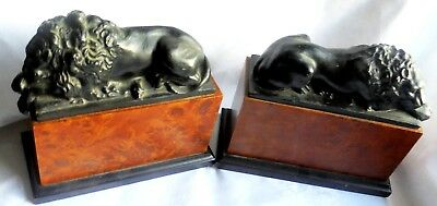 Large Heavy Antique or Vintage Pair of Spelter Lions with Maple or Walnut sides.