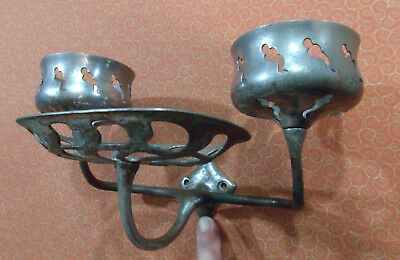 Vintage Soap Dish Cup Holder 3 Armed Wall Mount Metal Art Deco Copper Nickel