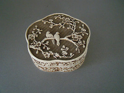 Vintage Asian Chinese Oriental Resin Hand Carved Lacquered Trinket Box