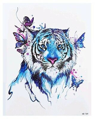 8c686aadc Tiger & Butterfies Temporary Tattoo A5 Body Art Adults Tattoos Blue Big Cats  🐾