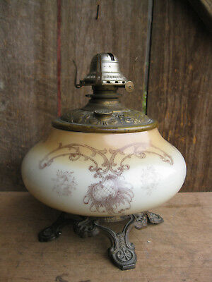 Antique Large Victorian Hand Painted Porcelain Banquet Oil Lamp w cast iron base