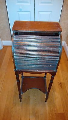 Small Roll Top Stand, Dark Wood, Antique