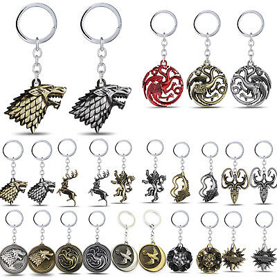 Game of Thrones House Stark Head Targaryen Baratheon 3D Metal Keyring Keychain