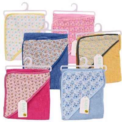 Terry Hooded Baby Towel Assorted Colors and design patterns