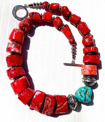 Huge Heavy Old Vintage Rare Natural Red Coral Turquoise Tibetan Silver Necklace