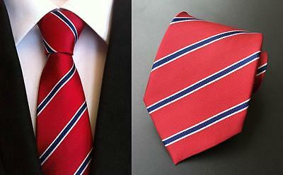 Red, Blue and White Stripe Patterned Handmade 100% Silk Wedding Tie