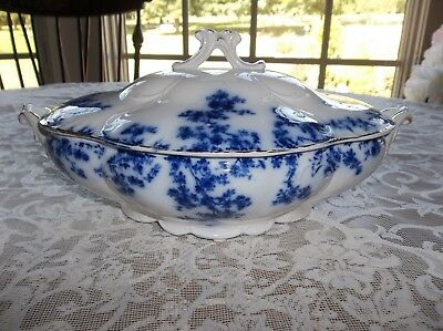 Antique Flow Blue Covered Vegetable Bowl Dish Olympia Gold Trimmed Flower Roses