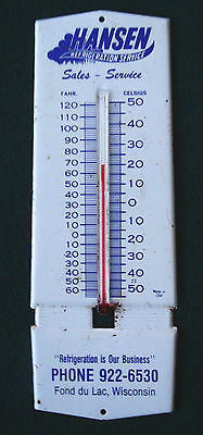 Vintage 1960 Grocery Meat Case Thermometer Advertising Hansen Refrigeration WI