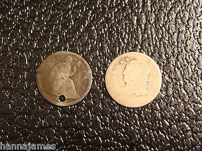 1836? Bust Half Dime and 1838-1840 No Drapery Seated Half Dime Holed