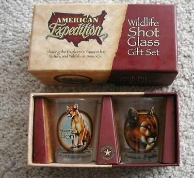 American Expedition Wildlife Shot Glass Gift Set - Mountain Lion 2 Glasses MIB