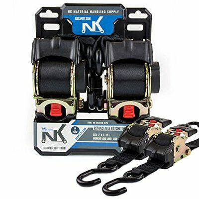 """2"""" x 10ft Pro Retractable Ratcheting Tie-Down Strap,Pack of 2 -NK-RR2X10-2PK"""