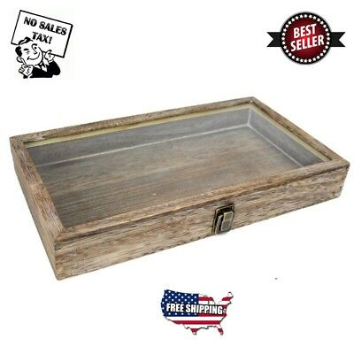 Large Wood Watch Box Glass Top Jewelry Ring Display Wooden Organizer Case Coffee