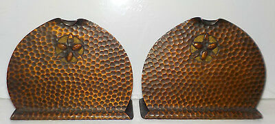 Arts and Crafts Bookends, Hammered Copper, Antique, Unmarked