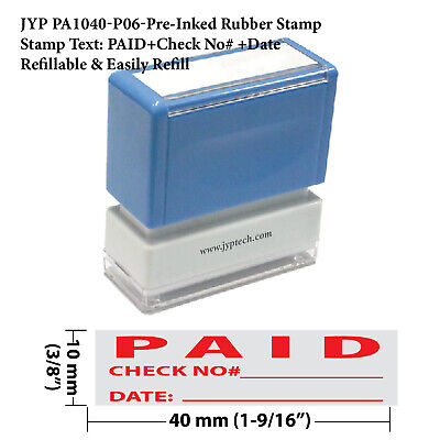 Paid  and Check No. and Date -JYP PA1040  Pre-Inked Rubber Stamp