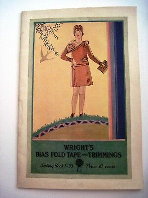 """Vintage """" Wright's Bias Fold Tape & Trimmings"""" w/ Colored Pictures of Fashions*"""