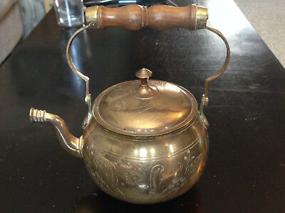 Antique Russian Brass Etched Tea Kettle with Wooden Handle