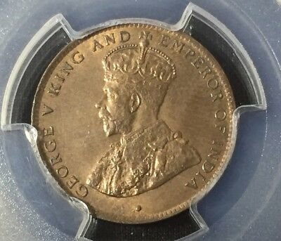 1911 Mauritius 2 Cents Pcgs Ms63 Red Brown Pop.2 Seychelles