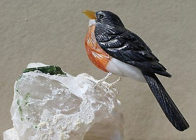 Robin of Obsidian,White Quartz, and Orange Calcite -Peter Muller