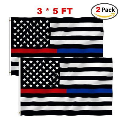 Thin Blue Red Line Flags 2 pack 3x5 Home Polyester Nylon Flag Brass Grommets
