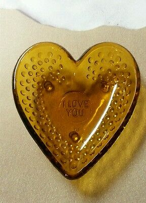 1960's Vintage Valentines Heart Shaped Amber Hobnail Indiana Glass Dish